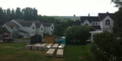 This is a photo of a local roof repair project with pallets of wood laid out on the grass.