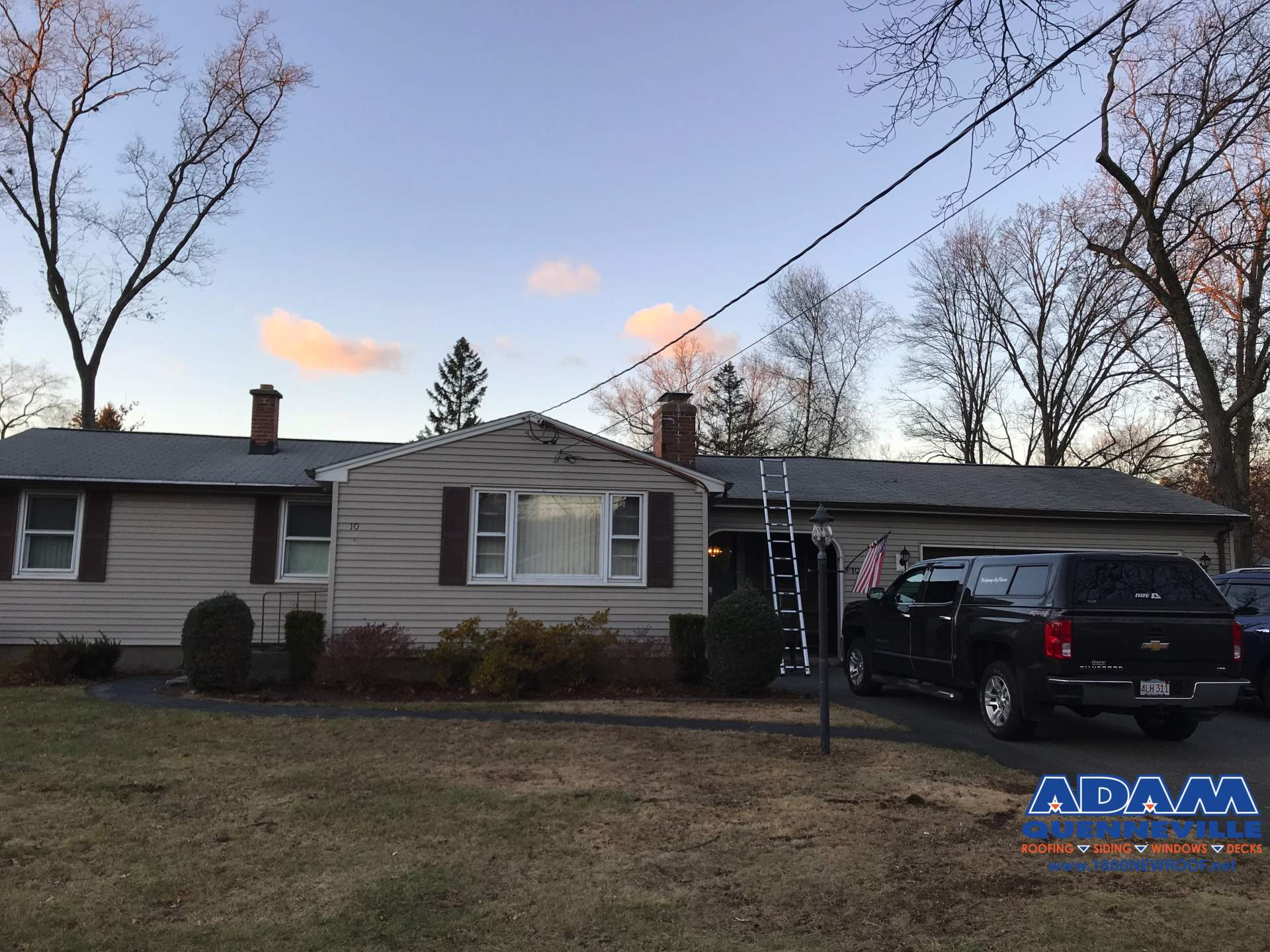 This is a photo of a local roofing replacement project before the work is done.