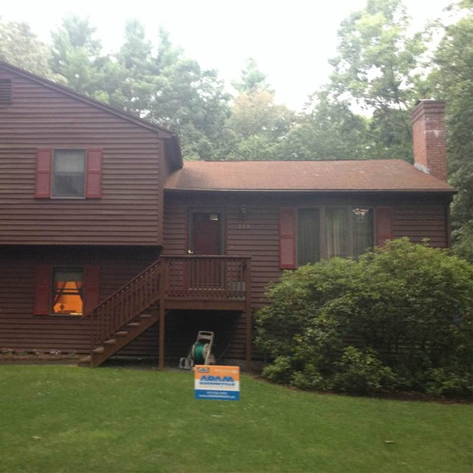 This is a before picture of a roof replacement project in Sunderland, MA