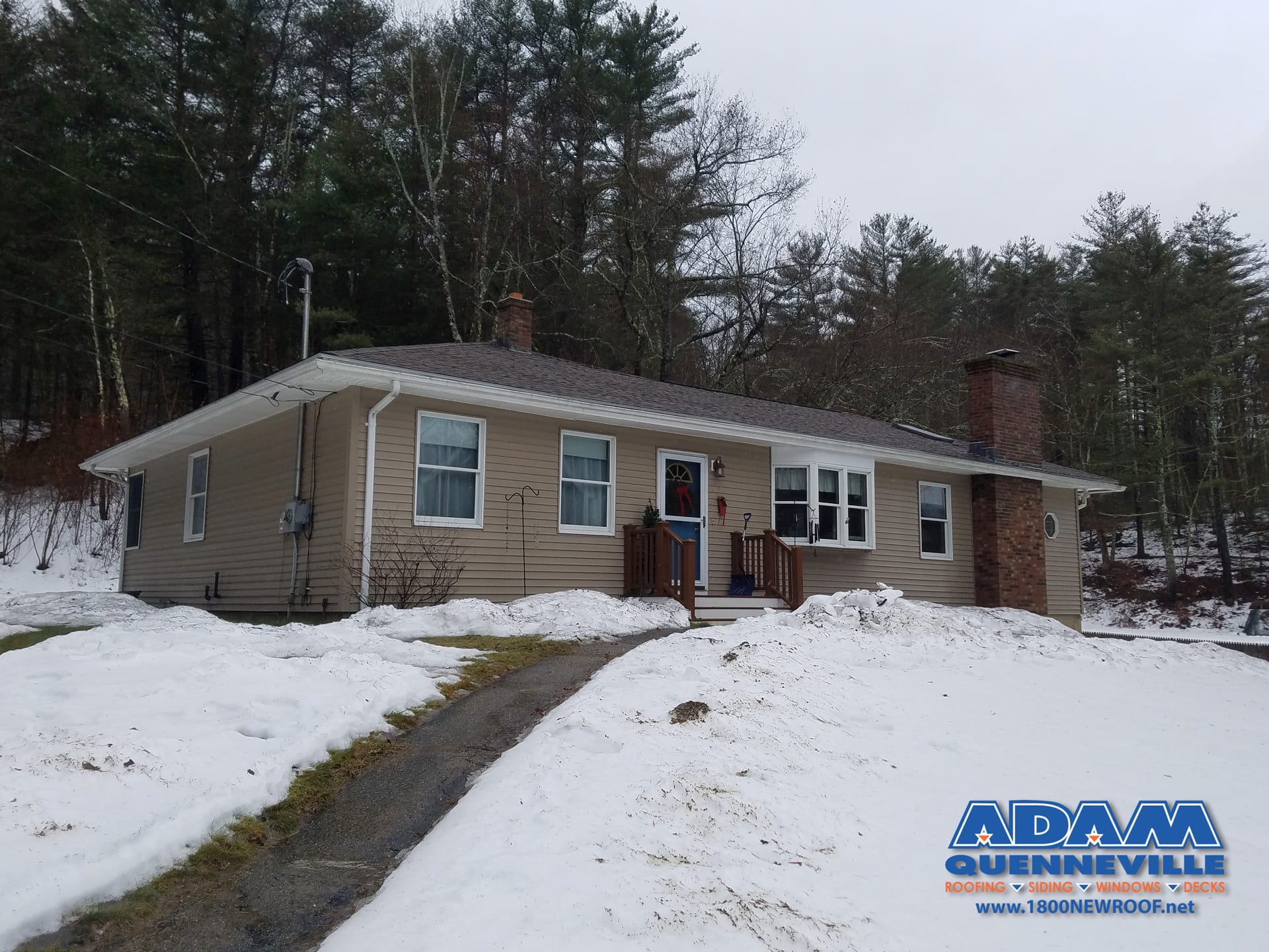 This is a photo of a local roofing replacement project after the work was completed.