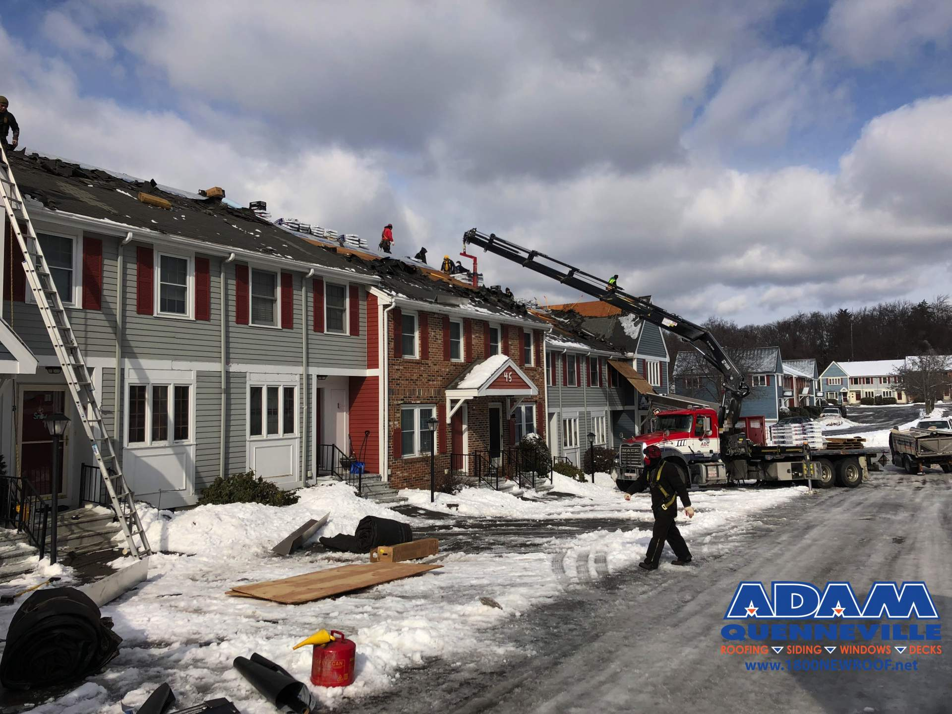 This is a photo of a local roofing and siding replacement project with old shingles removed.