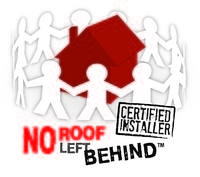 This is a photo of the no roof left behind logo.