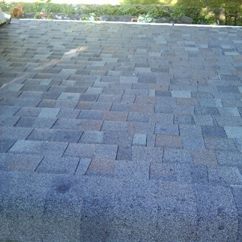 This is an after photo of a roof shampoo job. The roof is spotless.