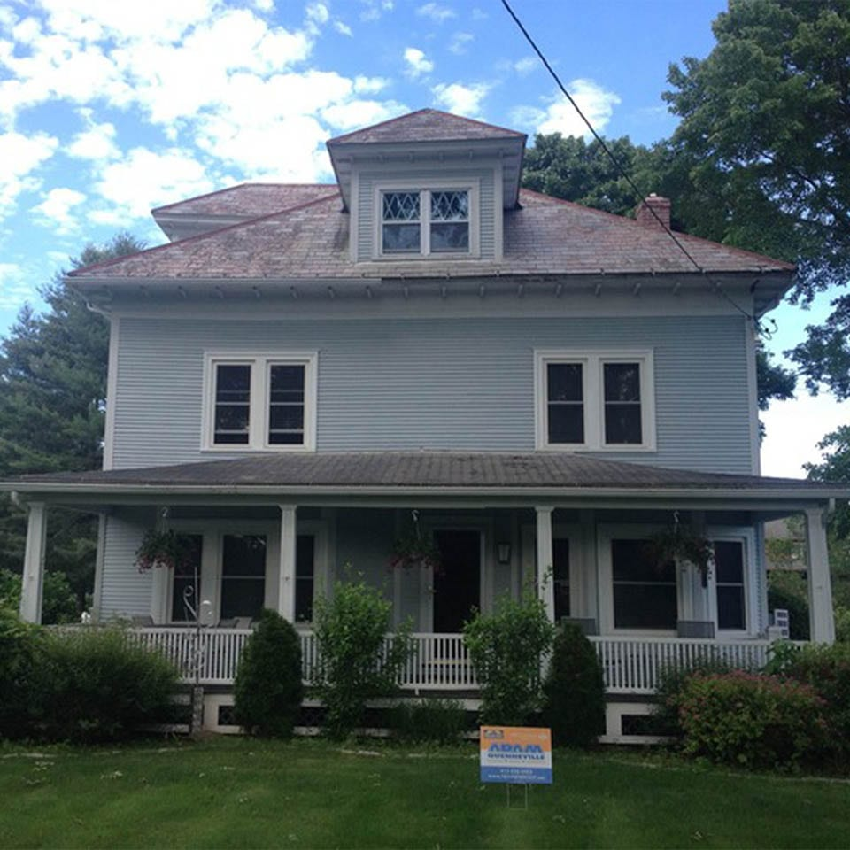 This is a before photo of a roof replacement in West Suffield, MA.