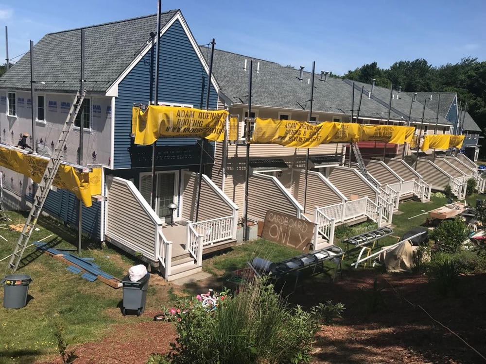 This is a photo of the roof repair at the fox condominiums in Leominster MA.