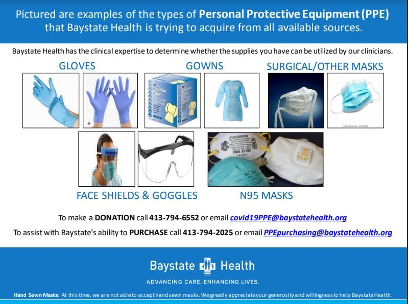 Seeking Local Contractors To Donate N95 Surgical Respirator Masks With NIOSH On The Labeling To Baystate Health