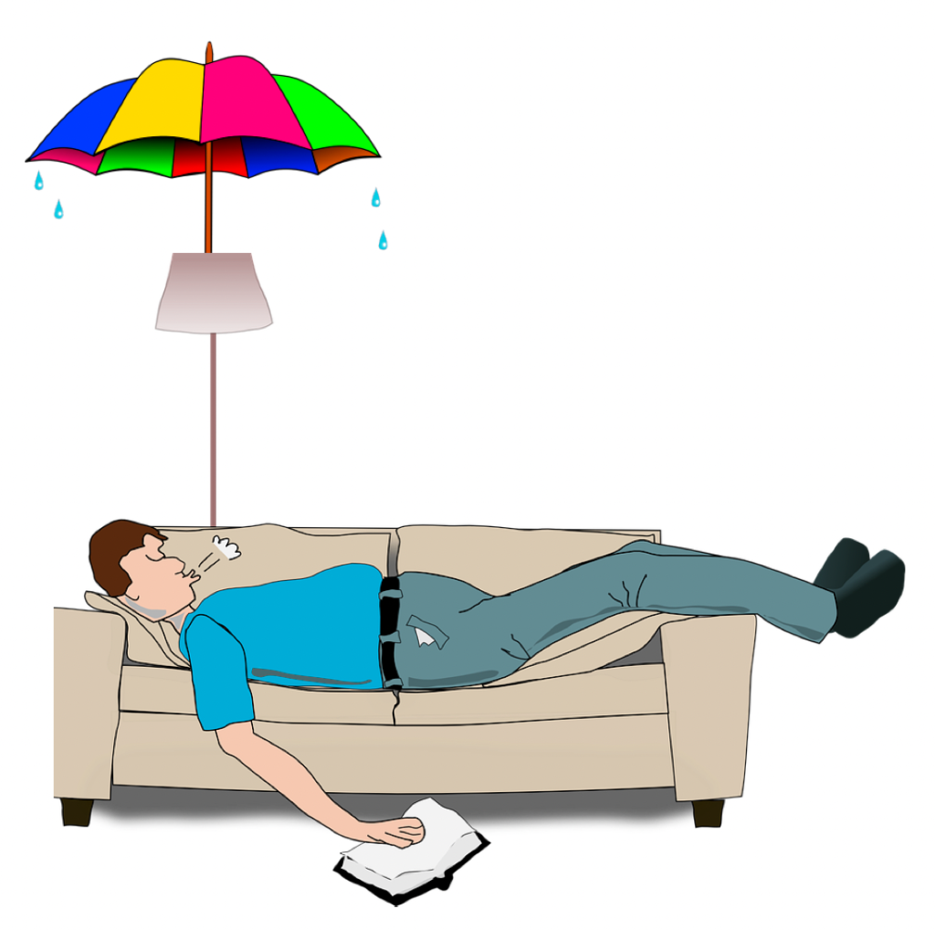 Illustration of a man laying on the couch with an umbrella because of a leaky roof