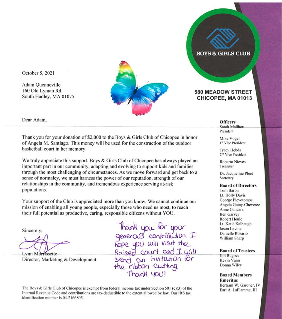 Chicopee Boys & Girls Club donation letter